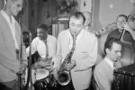 Portrait of Bill Harris, Denzil Best, Flip Phillips, Billy Bauer, Lennie Tristano, and Chubby Jackson, Pied Piper, New York, N.Y., ca. Sept. 1947